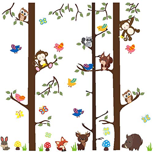 DEKOSH Jungle Animal Tree Nursery Wall Decal with Fun Monkeys Owl Décor | Peel & Stick Kids Wall Stickers for Baby Nusery, Playroom