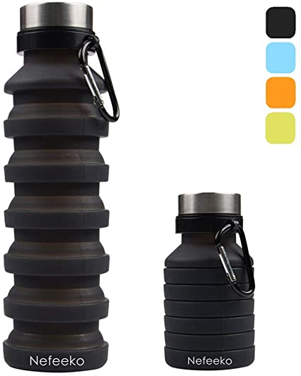 Portable Leak Proof Foldable Water Bottle Foldable Silicone Hiking Cycling USA