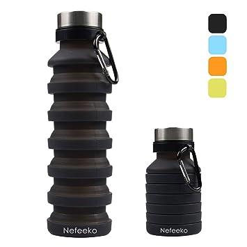 Amazon.com: Nefeeko Botella de agua plegable, reutilizable ...