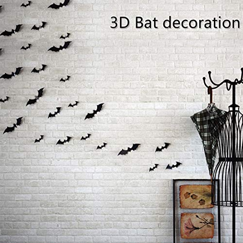HBOS 3D Bat Wall Sticker 7 Pcs DIY Removable Black Wall Decal for Halloween Gothic Party, Home, Window Decoration (Black) ()