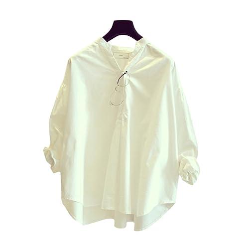 Masterein Mujeres de manga larga de color sólido Blusas suelta V-cuello jersey Camiseta de otoño de ...