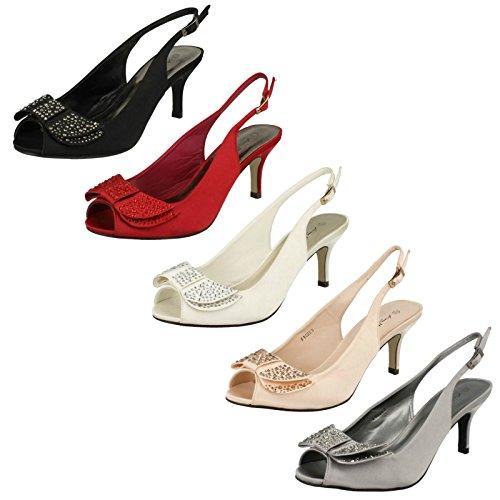 Anne Michelle Ladies Mid Heel Peep Toe Diamante Bow Vamp Court Shoes Pewter