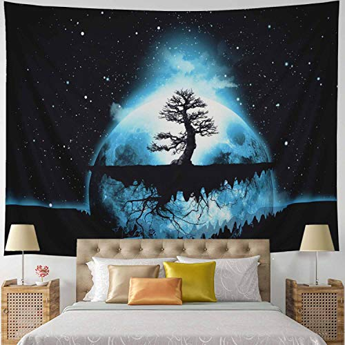 Leofanger Psychedelic Tree of Life Tapestry Starry Planet with Tree Tapestry Wall Hanging for Bedroom Living Room Dorm (H51×W59 inches) ()