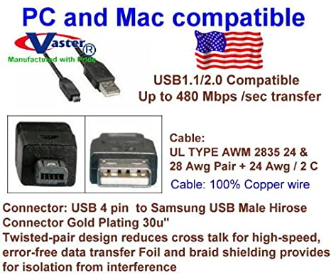 Vaster-20369-10 Ft 5 Pcs USB 2.0 Extension Cable 24k Premium Usb2.0 Male to Female Extension Cable