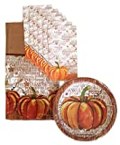 Thanksgiving Pumpkin Fall Harvest Party Supplies Paper Plate and Napkin Bundle Set of 3 Includes Dinner Plates, Luncheon Napkins and a Tablecloth- Service for 14