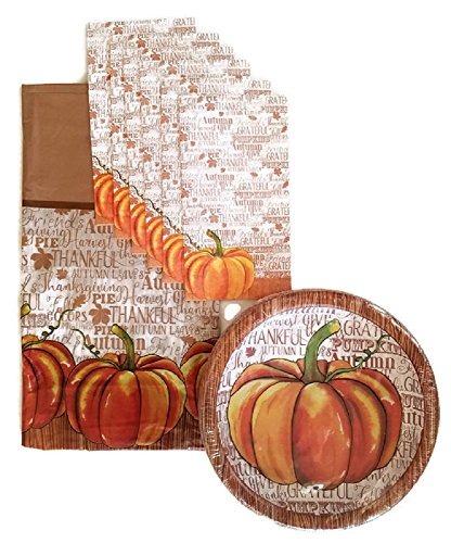 (Thanksgiving Pumpkin Fall Harvest Party Supplies Paper Plate and Napkin Bundle Set of 3 Includes Dinner Plates, Luncheon Napkins and a Tablecloth- Service for 14)
