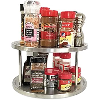 Lazy Susan 10 inch Two Tier Turntable Spice Rack Cabinet Organizer also for Appetizer Tray, Art Supply Caddy, Cosmetics Storage Sturdy Stainless Steel Ball Bearing motion by Kitchen Magic