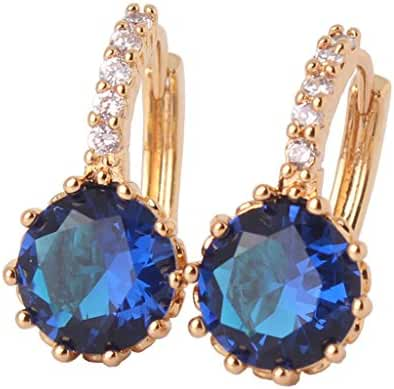 GULICX Yellow Gold Tone Blue Sapphire Color Round Charm Earrings Hoop
