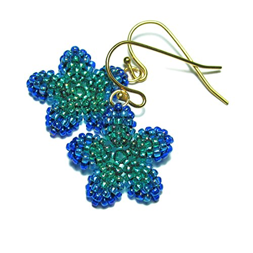 Kawaii - Tiny Plumeria Dangles in Peacock Green (Beadwoven Green)