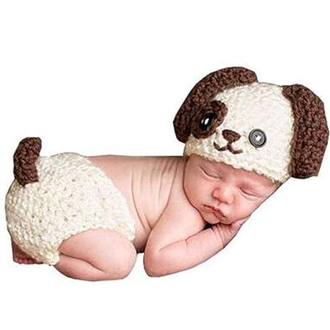 Mode recién nacido niño niña bebé Disfraz gestrickte fotografía Requisiten Cachorro  sombrero Pantalones beige beige 25159a10190