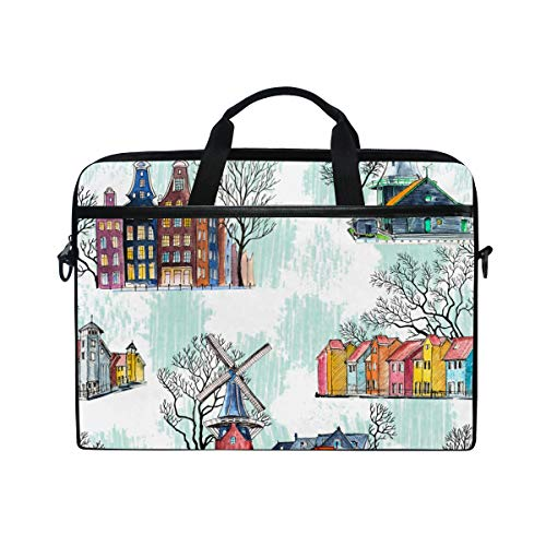 PENGTU 15-15.4 Inch Laptop Bag Seamless Pattern Amsterdam Architecture Windmills Watercolor Shoulder Messenger Bags Sleeve Case Tablet Briefcase with Handle Strap
