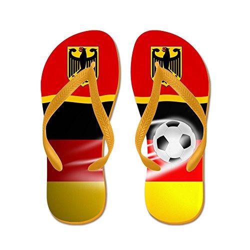 Cafepress German Deutschland Fotboll Fotboll Flip Flops - Flip Flops, Roliga Rem Sandaler, Strand Sandaler Apelsin
