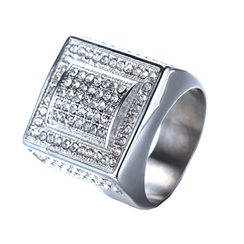 HIJONES Men's Stainless Steel Hip Hop Cubic Zirconia Square Bold Rings Silver Size ()