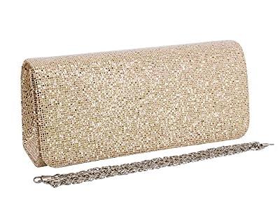 Naimo Flap Glitter Hard Case Evening Bag Clutch Handbag Purse