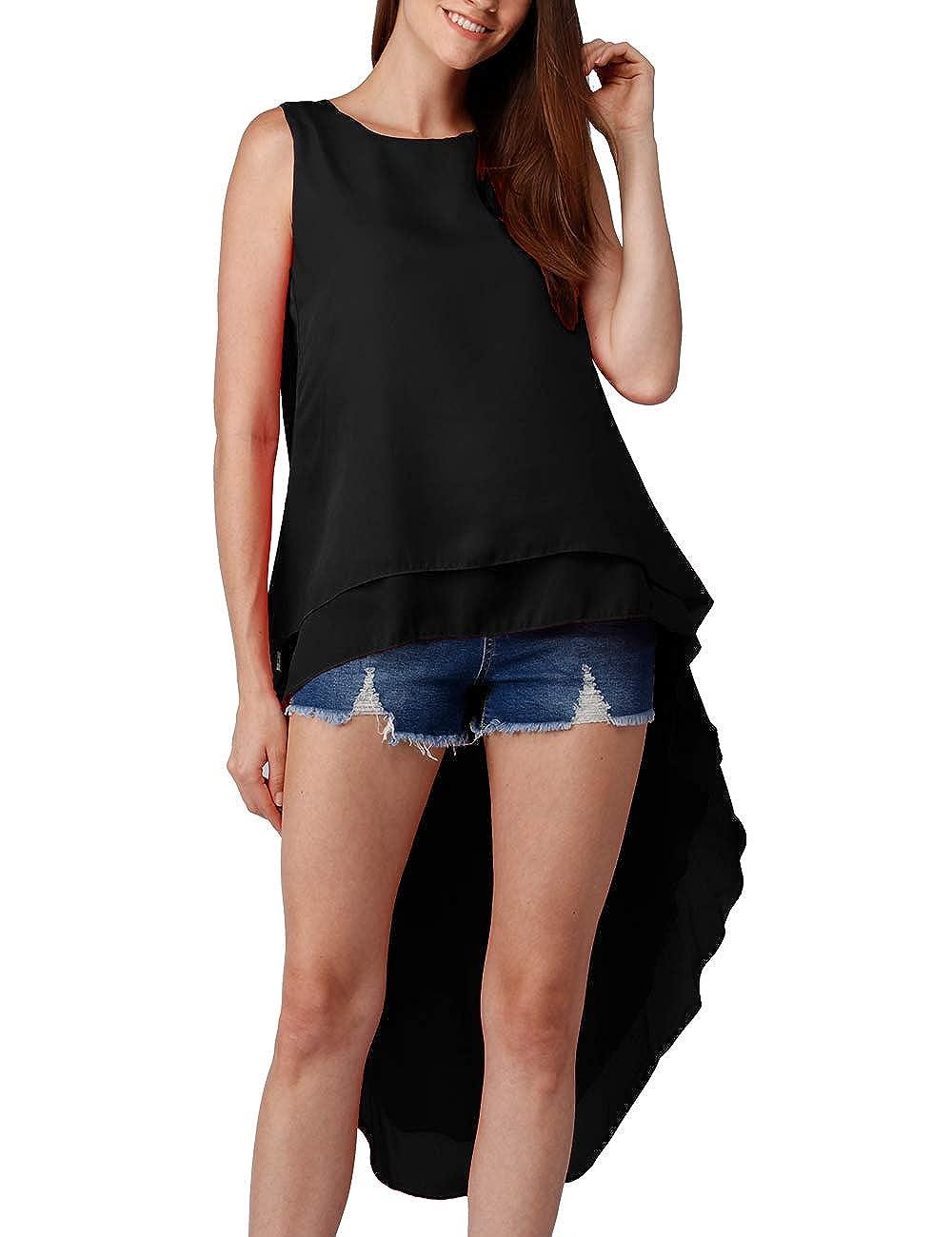58dde07e Haola Women's High Low Tops Blouse Summer Casual Loose Chiffon Round Neck  Asymmetrical Irregular Hem Shirt Dress
