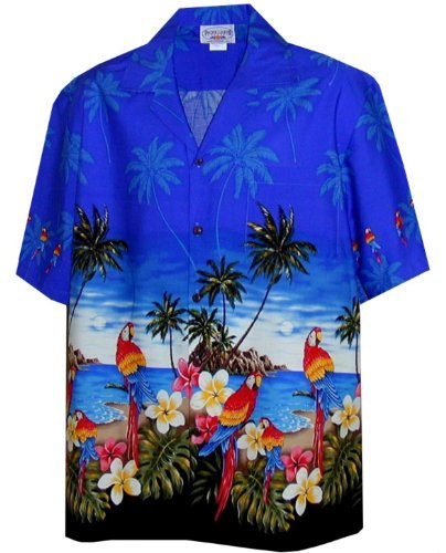 Border Hawaiian Aloha Shirts (Parrots Beach Border Hawaiian Shirt (2X, Blue))