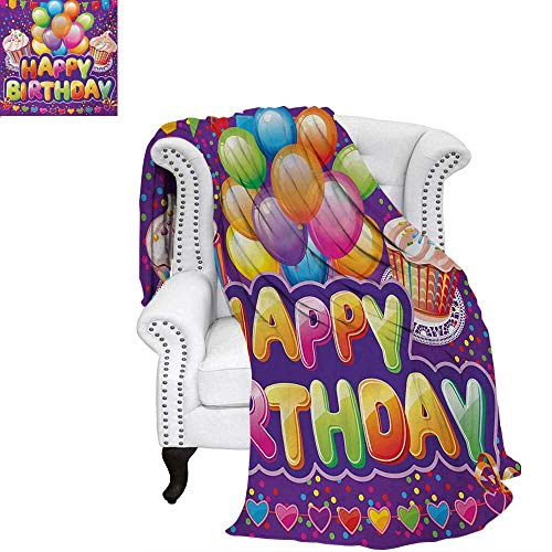 warmfamily Birthday Oversized Travel Throw Cover Blanket Purple Colored Backdrop with Creamy Cupcakes Hearts Confetti Rain and Balloons Super Soft Lightweight Blanket 50