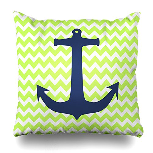 (Decorativepillows Covers 18 x 18 inch Throw Pillow Covers,Navy Blue Nautical Anchor Lemon Green Chevron Pattern Double-Sided Decorative Home Decor Pillowcase Garden Sofa Bedroom Car)