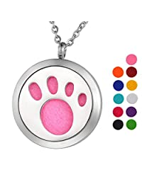 Stainless Steel Aromatherapy Essential Oil Diffuser Necklace with Pet Paw,Silver Tone
