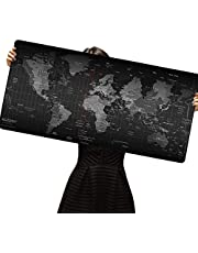 AUSELECT Extended Gaming Mouse Pad Anti-Fray Stitched Edges X-Large Mousepad Desk Mat for Gamer Computer PC Keyboard and Mouse, World Map 30x80cm 5mm Thickness