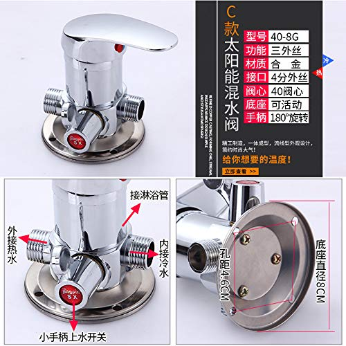 J redOOY Shower faucet water separator shower shower faucet wall-mounted faucet solar mixing valve mounted, E copper body active base mixing valve