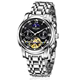 SOLLEN SL-804 Men's Flywheel Automatic Water Resistant Business Wrist Watch with Luminous Hands (Black)