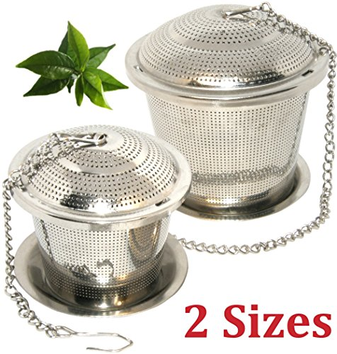 Loose Leaf Tea Infuser Set of 2 (M & L-Sizes) + Drip Trays,Food Grade 304 Stainless Steel Strainer & Steeper can be used as Tea/Herbal/Spice Filter for Cup, Mug, Teapot