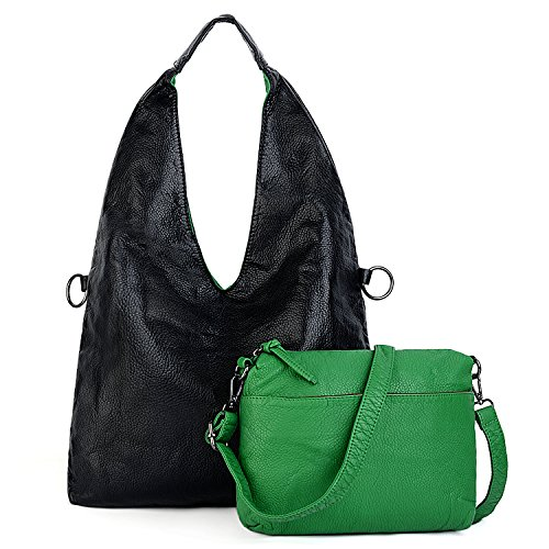 "UTO Mujeres Hobo Bag Large Capacity 13.3 ""Laptop Shoulder Purse 2 piezas Crossbody Bags Correa gris Verde negro"