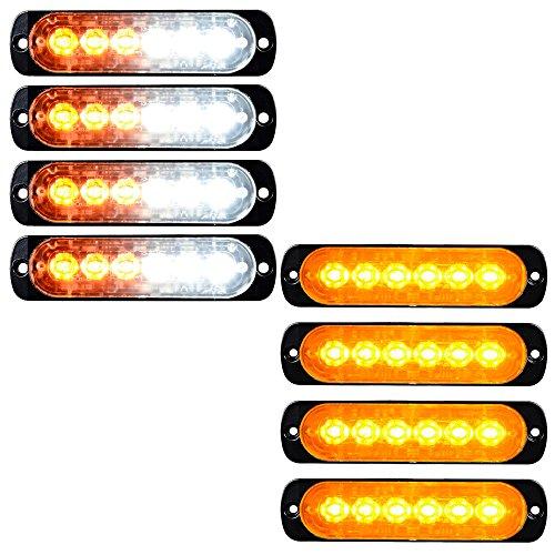 8pcs 18W 6-LED Surface Mount Emergency Strobe Lights Flasher (4X White & Amber + 4X Amber) ()