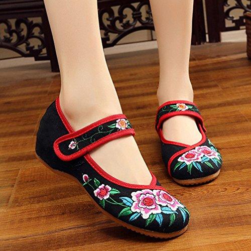 Zapatos Mujer NGRDX Casual amp;G China De black Zapatos flower Retro Two Flores Oxford Pisos Mujer Bordados Calzado 18qPw1