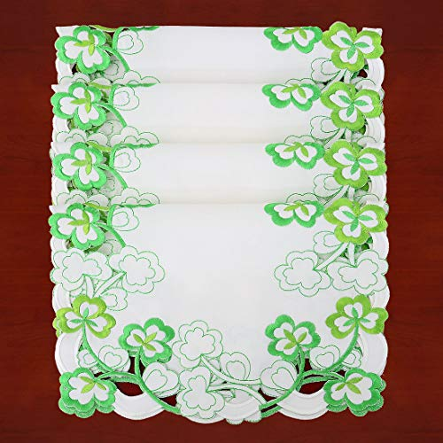 Simhomsen Decorative Irish Clover Table Placemats for St. Patrick's Day and Spring, Embroidered Shamrock 4 Pieces 12 × 18 Inch (Patricks Placemats Day St)