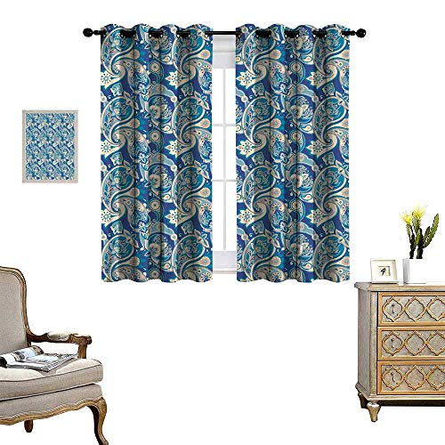 homehot Paisley Patterned Drape for Glass Door Authentic Asian Inspired Floral Persian Fashion Boho Art Illustration Print Waterproof Window Curtain Teal Navy and Tan
