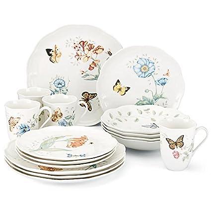 Lenox Butterfly Meadow 16-Piece Dinnerware Set Service for 4  sc 1 st  Amazon.com & Amazon.com   Lenox Butterfly Meadow 16-Piece Dinnerware Set Service ...