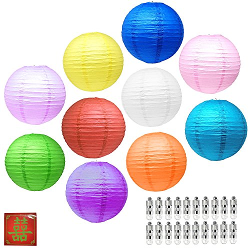 Mudra Crafts Paper Lanterns with Led Lights, Chinese Japanese Decorative Round Hanging Lamps (Mixed Color 12 Inches 10 Packs) -