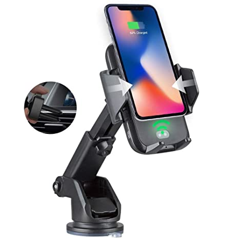 Amazon com: Automatic QI Wireless Charger Air Vent Car Mount