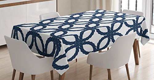 Rope Pattern (Ambesonne Navy Blue Decor Tablecloth, Geometric Twisted Woven Rope Motifs Artprint with Oriental Ethnic Patterns Design Home, Rectangular Table Cover for Dining Room Kitchen, 60x84 Inches, Dark Blue)