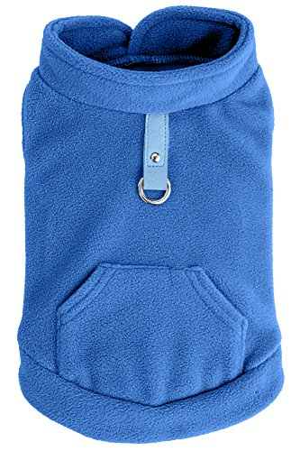 EXPAWLORER Fleece Autumn Winter Cold Weather Dog Vest Harness Clothes with Pocket, Blue Extra Small
