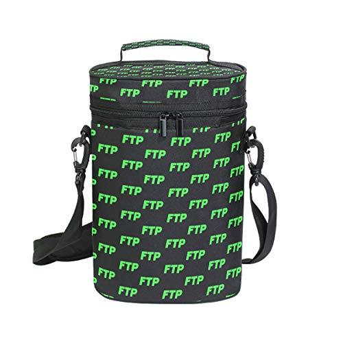 Wine Cooler Bag Travel Tote Carrier Green FTP 2 Bottle Pockets Ice Portable Bar Water Bottles with Adjustable Shoulder Strap Handle Lover