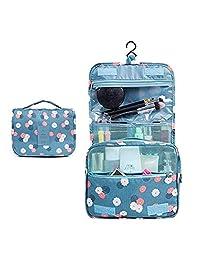 alwaysig Bolsa de Viaje Cosmético Maquillaje Portátil Multifunción, Bolso del almacenaje del almacenaje del bolso de la toalla con el gancho colgante para viajar (Azul Flores)