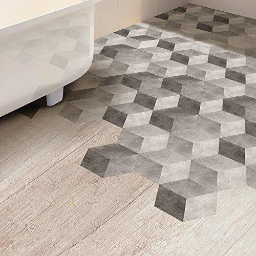 VANCORE Hexagon Floor Tile Sticker Living Room Bedroom Bathroom Waterproof Kitchen Mural Decal 4.53x7.87 Inch 10 Pcs/Set