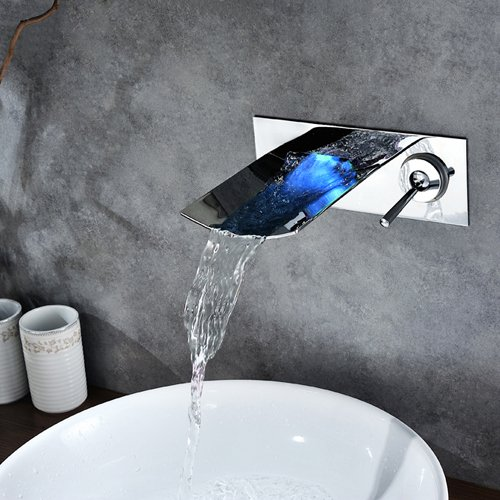 Sprinkle Chrome Finish Color Changing LED Waterfall Wall Mount Bathroom Sink Faucet Widespread Single Handle with Hole Cover Plate Vessel Sink Faucets Water Flow Powered Bath Shower Faucets Bathtub Mixer Taps Lavatory Plumbing Fixtures by LightInTheBox
