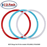 Silicone Sealing Ring, 3 Pack, Savory Sky Blue & Sweet Cherry Red & Common Transparent White, Fit for 8qt