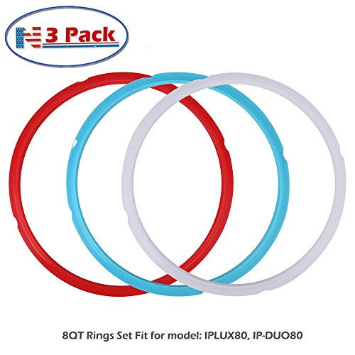 Silicone Sealing Ring, 3 Pack, Savory Sky Blue & Sweet Cherry Red & Common Transparent White, Fit for 8qt by Newkiton