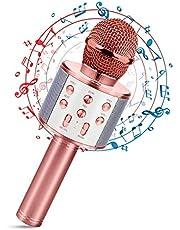 Micrófono Karaoke Bluetooth, Portátil Inalámbrica Micrófono y Altavoz del Karaoke con LED para Niños Canta Partido Música, el Hogar KTV, Compatible con Android/iOS PC, Tabletas