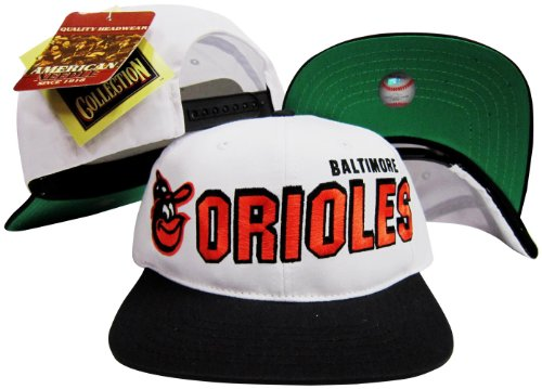 (American Needle Baltimore Orioles Two Tone Plastic Snapback Adjustable Plastic Snap Back Hat/Cap)