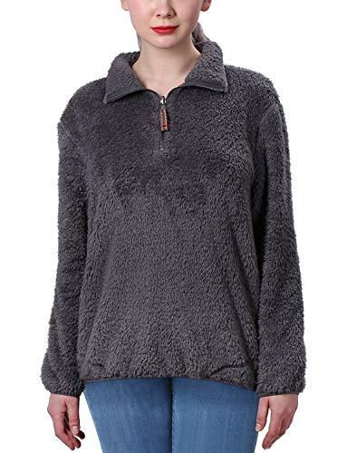 Jjyee Fleece Sherpa Pullover Womens 1/4 Zip Fleece Fuzzy Sweatshirt Reversible Pullover Long Sleeve Soft Outwear Sweater (Dark Grey,Large) ()