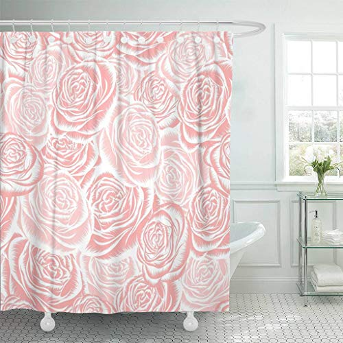 Emvency Fabric Shower Curtain with Hooks Pink Light with Roses Red Flowers Curtains Curves Delicate Drapery Elegant Expensive Extra Long 72