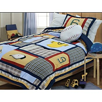 Textiles Plus 200 Thread Count Boys Baseball Patchwork Comforter Set Full Queen
