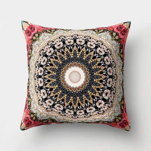 Pillow Case - Boho Geometric Floral Pattern Paisley Throw Pillow Case Home - Decorative Baby Lounger Pink Xlarge Sets Color Hotel Horse Jack Extra Acne Organic 1000 Silk Body From Organizer Un