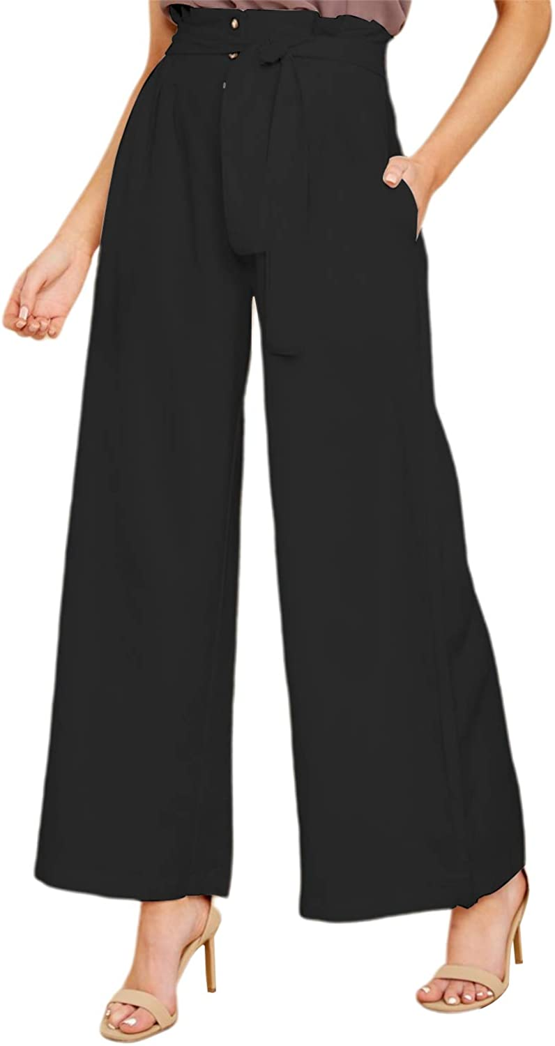 FLORHO Women Wide Leg Bottom Pants High Waisted Paper Bag Pants Casual Trousers with Pockets